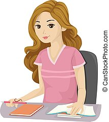 adolescente, studio, ragazza, scuola