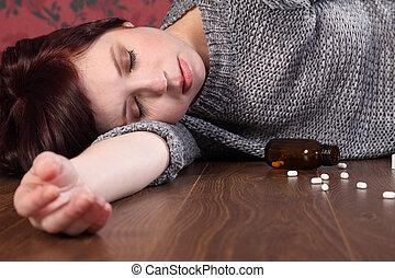 adolescente, suicídio, vítima, overdose, menina, pílulas