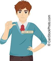adolescente, sujeito, conselho, ilustração, estudante