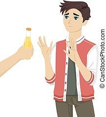 adolescente, sujeito, recusar, cerveja