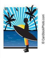 adolescente, surfista