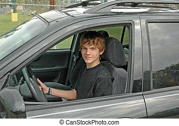 adolescente, suv, driver