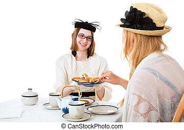 adolescente, tè, ragazze, possedere