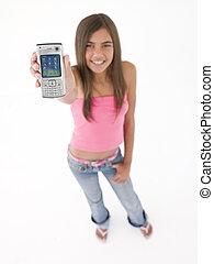 adolescente, teniendo arriba, teléfono, celular, muchacha ...