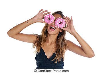 adolescente, tenue, beignets, lunettes protectrices, sur, elle, yeux