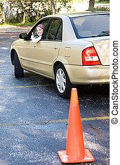 adolescente, teste dirigindo, thumbsup