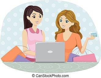 adolescente, tienda, niñas, en línea