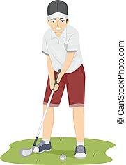 adolescente, tipo, golf, juego, columpio