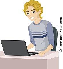 adolescente, tipo, laptop, felice