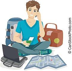 adolescente, tipo, viaggiatore, imballaggio