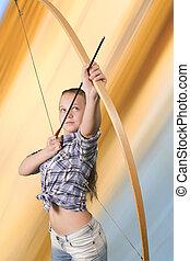adolescente, tiro al arco, practicar, resumen, plano de fondo, niña