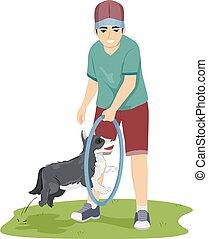 adolescente, treinador, sujeito, cão, ilustração