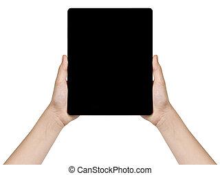 adolescente, vertical, tableta, genérico, manos, hembra, tenencia