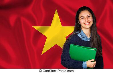 adolescente, vietnamita, sobre, bandeira, estudante, sorrindo