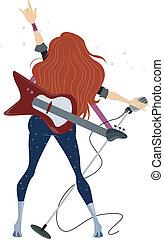 adolescente, vista, costas, menina, rockstar
