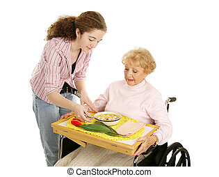 adolescente, volontario, con, anziano