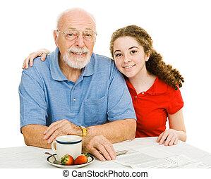 adolescente, y, abuelito