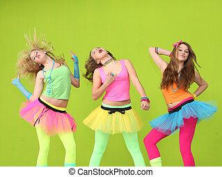 adolescentes, bailando, en, fiesta de cumpleaños