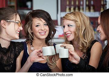 adolescentes, café, joyoful