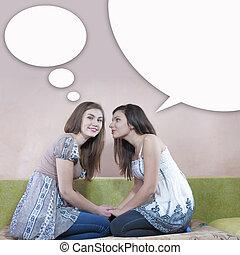 adolescentes, deux, bavarder, heureux