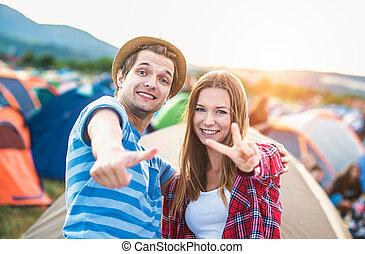 adolescentes, em, verão, festival