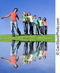 adolescentes, en, campo verano