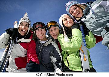 adolescentes, en, el, nieve