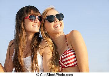 adolescentes, en, vacaciones del verano, o, rotura del...