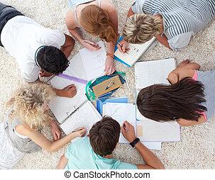 adolescentes, estudiar, alto, juntos, ángulo