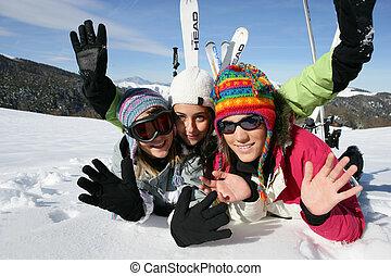 adolescentes, ligado, a, esqui inclina