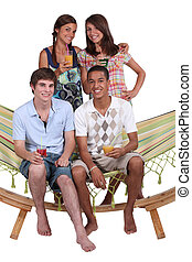 adolescentes, ligado, um, rede