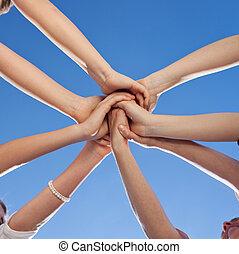 adolescentes, mostrando, unidade, e, compromisso