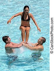 adolescentes, piscina