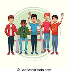 adolescentes, smartphones, desenhos animados