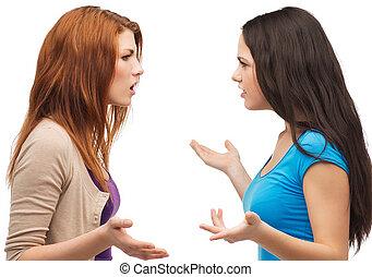 Adolescentes, teniendo, dos, pelea