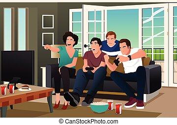 adolescentes, vídeo, jogo jogando