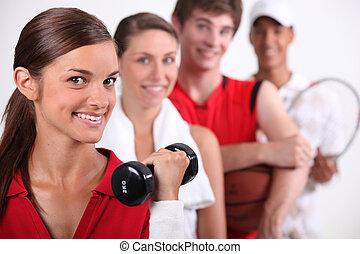adolescentes, vestido, para, variedad, de, deportes