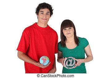 adolescenti, con, globo