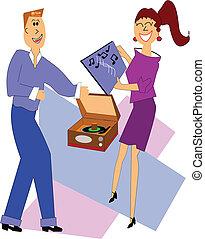 adolescenti, gioco, dischi, da, anni cinquanta