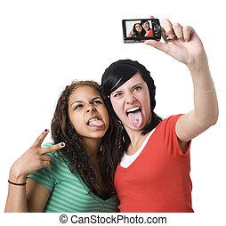 adolescenti, macchina fotografica, gioco