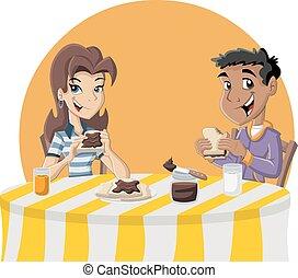 adolescenti, mangiare, pane tostato