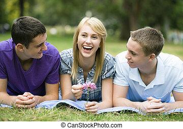 adolescents, parc, trois