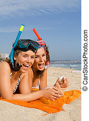 adolescents, vacances, heureux
