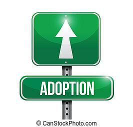 adopción, diseño, camino, ilustración, señal