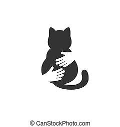 Adopt a cat logo. Cat head silhouette. Vector