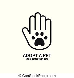 Adopt a Pet. Hand with Paw Line Icon. Volunteer Help Care Protection Support Theme. Pet Adoption Sign and Symbol.
