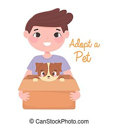 adopt a pet, happy boy with puppy in the box
