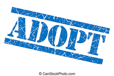 adopt blue square grungy isolated rubber stamp