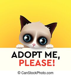 Adopt me, red heart, cute cartoon character, help animal concept, pet adoption, vector image.