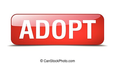 adopt red square 3d realistic isolated web button